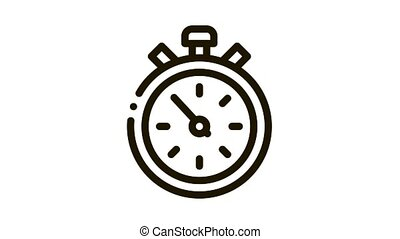 Competition Sport Stopwatch Icon Animation. black Competition Sport Stopwatch animated icon on white background