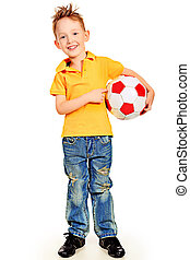 competition - Portrait of a little boy with a ball. Isolated...