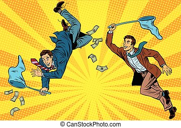 Competition, two businessmen catching money with a butterfly net