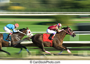 Two racing horses competing with each other, with motion blur to accent speed, colors of cloth changed to avoid copyright infringement