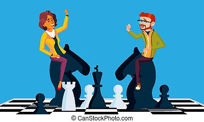 Competition Vector. Businessman And Business Woman Riding...
