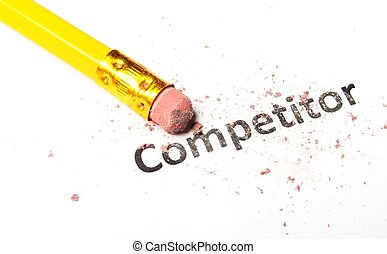 competition word and eraser on white showing business...