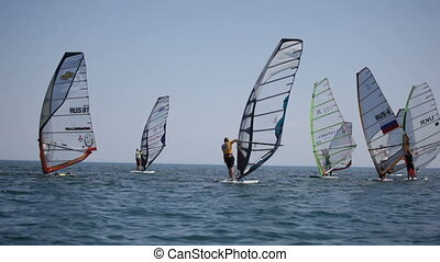 Competitions in windsurfing. Sportsmen in anticipation of...