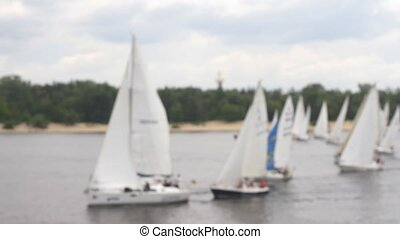 Competitions Yacht Regatta on the River blurred