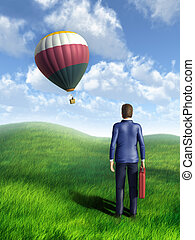 Competitive advantage - Businessman looking at an hot air...