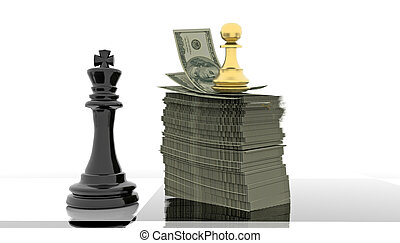 competitive advantage chess money dollars golden pawn black king - 3d rendering