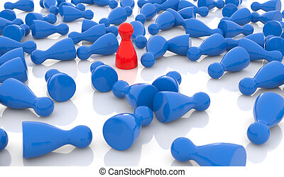 competitive advantage - red pawn standing among a crowd of...