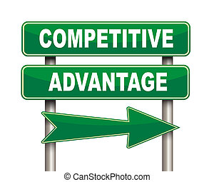 competitive advantage green road sign - Illustration of...