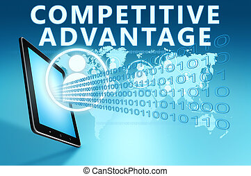 Competitive Advantage illustration with tablet computer on...