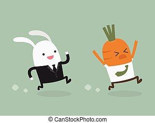 Rabbit businessman hunting carrot businessman