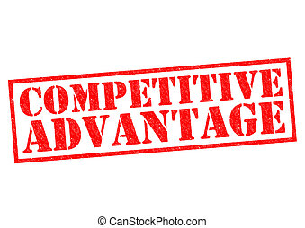 COMPETITIVE ADVANTAGE red Rubber Stamp over a white...