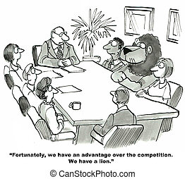 Competitive Advantage - Cartoon of business leader saying...