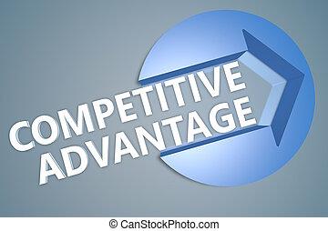Competitive Advantage - text 3d render illustration concept...
