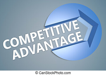 Competitive Advantage - text 3d render illustration concept...