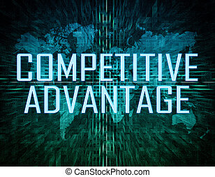 Competitive Advantage text concept on green digital world...