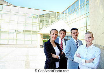 Competitive employees - Portrait of friendly partners...