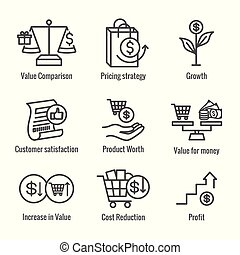 Competitive Pricing Icon Set with Growth, Profitability, &...