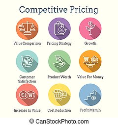 Competitive Pricing Icon Set with Growth, Profitability, & ...