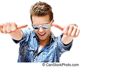Competitive young guy wearing trendy eyeglass - Competitive...