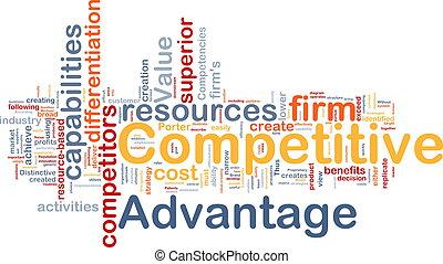 competitivo, conceito, vantagem, fundo