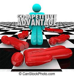 competitivo, vantaggio, persone, vincitore, leva piedi, solo