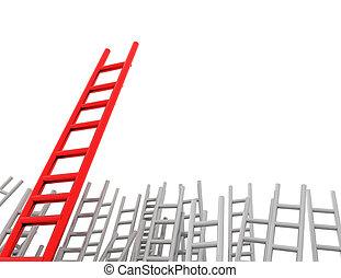 competitivo, ventaja, escalera, más tiempo, -, 3d,...
