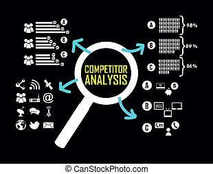 competitor analysis illustration with infographics. vector background