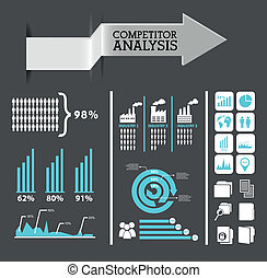 competitor analysis infographics, blue and gray colors. vector background