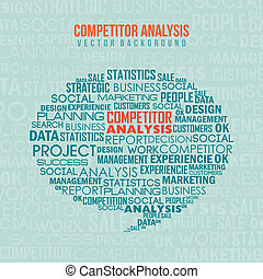 competitor analysis illustration with words. vector...