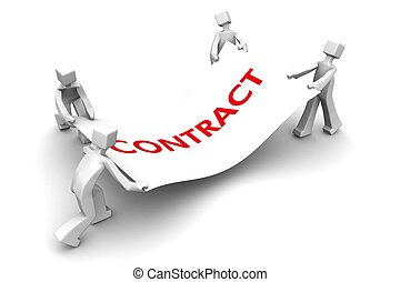 Competitor fight for business contract - Businessman pulling...