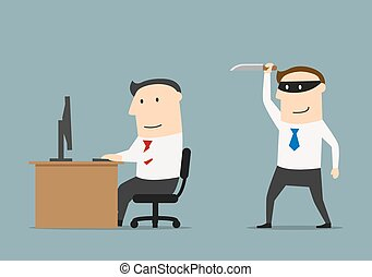 Competitor in black mask sneaks a knife to the businessman. Betrayal and back stab of business partner or competitor concept