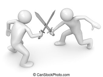 Competitors crossing swords - 3d characters isolated on...