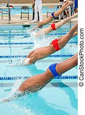Competitve Swim Meet - A high school swim meet for...