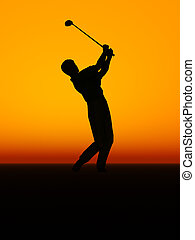 compiendo, golf, swing., uomo