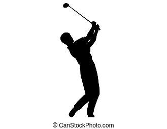 compiendo, golf, swing., uomo