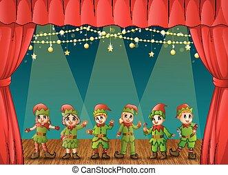 compiendo, natale, elfi, palcoscenico