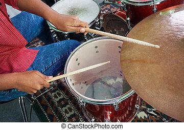 compiendo, tamburino, femmina, midsection