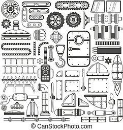 compilação, de, maquinaria, partes