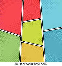 Compilation of colorful backgrounds comic zoom - Vector illustration