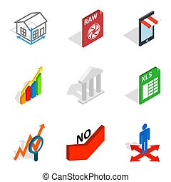 Compile the project icons set, isometric style - Compile the...