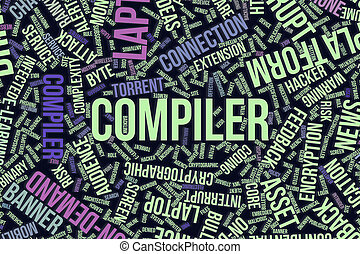 Compiler, conceptual word cloud for business, information technology or IT.