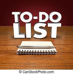 compiti, lavori, elenco, blocco note, organizzare, parole, prioritize, progetti