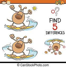 compito, di, differenze, cartone animato