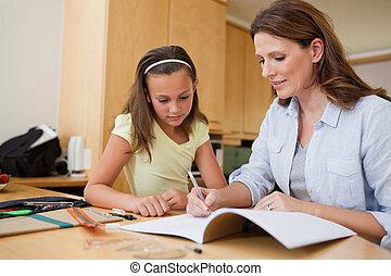 compito, lei, figlia, madre, porzione