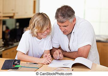 compito, padre, figlio, porzione