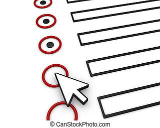 compléter, formulaire, utilisation, souris, indicateur