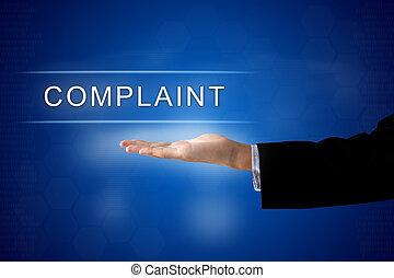 complaint button on virtual screen
