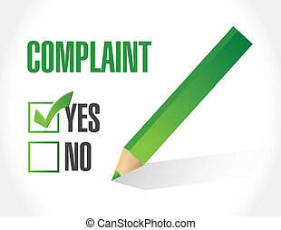 complaint check mark illustration design over a white ...