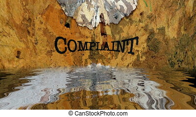 Complaint text on grunge background reflecting in water