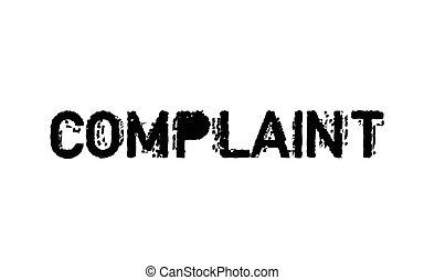 Complaint typographic stamp